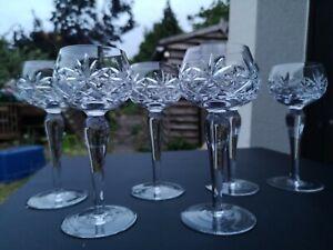 Set Of 6 Stunning Crystal Cut Large Wine Hock Glasses