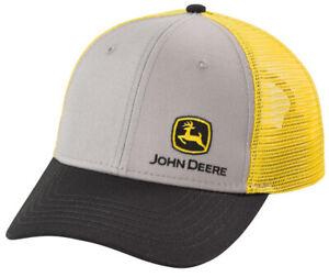 NEW John Deere Gray Cap Yellow Mesh Black Visor Cap Structured LP73689