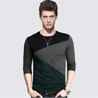Men's Clothing Long Sleeve Slim Shirts Casual Cotton Tee Shirt Tops Pullover 5XL