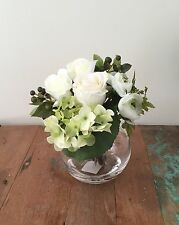 Fake Silk Flower Arrangement W Artificial Water Rose Hydrangea Berry Green White