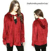 Christmas BOHO RED Velvet Suede Gothic Lace Trim Hoodie Sweater Top S M L XL