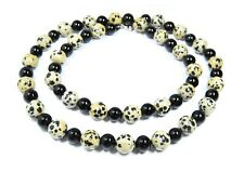 Beautiful Necklace from The Gemstone Dalmatian Jasper And Onyx IN Round 72 CM
