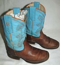 Anderson Bean Blue Leather Cowboy Boots Youth Boys Size 12 D Sold AS IS