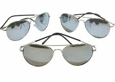 3 pack 50 mm Polarized Silver Mirror Pilot Sunglasses with Spring Hinges S