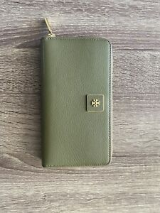 Tory Burch Green Zip Around Wallet