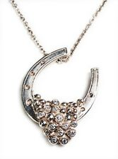 NEW: Lucky You Horseshoe Necklace-Sterling Silver overflowing diamonds Half Full
