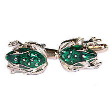 Gift Pouch Toad Pond Wildlife Male New Silver & Bright Green Frog Cufflinks With