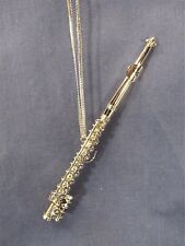 Silver Flute Ornament Musical Instrument Collectible Holiday Home Decor