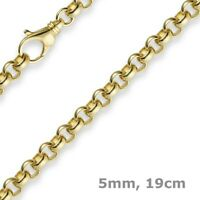 5mm Armband Armkette Erbskette aus 585 Gold Gelbgold, 19cm, Unisex, Goldarmband
