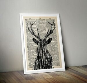 Stag Head Print - Nature art Book page - Dictionary Encyclopedia Art vintage A3