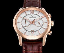 VINCERO Watches Chrono ROSE GOLD Italian Leather Band Men's Luxury Watch