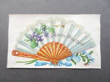 Tiny Antique NEW YEAR Card  Embossed Fan Violets Forget me Nots Victorian Chromo