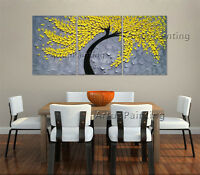 3 Pieces Original Oil Paintings Modern Abstract Flower Wall Art Hand Painted