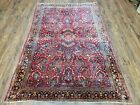 4x6 Oriental Carpet Antique Rug Nice Condition Floral Allover Handmade Red Blue