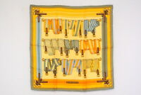 HERMES Petit Carre 45 Scarf Silk 100% Suspenders Belt Pattern Stole Yellow 3884k