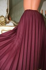 DAMART Red Wine Pleated A line Ladies Long Full Length  Skirt Size 18