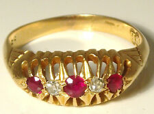 18 Carat Ruby Yellow Gold Edwardian Fine Jewellery
