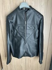 Superman Smallville Mens Black Leather Jacket Medium Size Faux Leather
