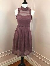 MINUET Crochet Mauve Pink Halter Dress Size M medium Sweetheart Bodice Ruffle
