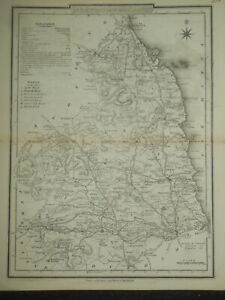 Original Antiquarian County Map of Northumberland c1850 - Dugdale, England