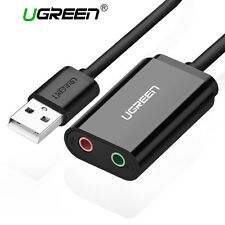 Ugreen USB to 3.5mm Audio Mic Adapter External Stereo Splitter for Headphone PS4