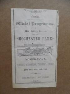 1886 Rochester Driving Park Harness Horse Racing Program Antique Original RARE