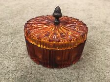 Lancaster Amber Glass Covered Vanity Box with Acorn Handle