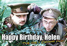 Blackadder Rowan Atkinson Happy Birthday PERSONALISED ART Card Cunning Plan