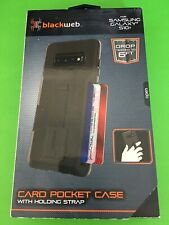 Blackweb Card Pocket Phone Case For W/ Holding Strap, Samsung Galaxy S10+ New