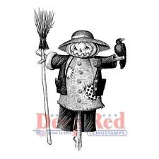 New CLING Deep Red Rubber Stamp FALL HALLOWEEN SCARECROW WITH CROW