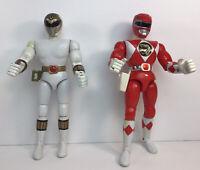 """Mighty Morphin Power Rangers Karate Kick 1993 Red Ranger &1994 White Ranger 8"""""""