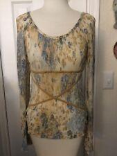 Juniors Floral Print Blouse Size S Long Sleeve by Joe Boxer
