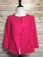 Kim Rogers Pink Pleated Half Button Down 3/4 Sleeve Linen Blazer Jacket Size 8