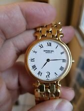 Mens Watch 18K Gold Electroplated Vintage Raymond Weil Geneva Quartz
