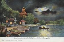 Boat House and Lake by Humboldt Park by Night Chicago IL vintage postally unused