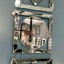Circle in Square Mirrored Wall Art Mirror Picture Contemporary Shiny Decor 40cm