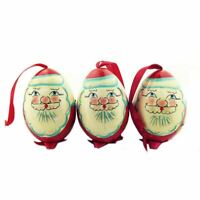 Red SET OF 3 PCS Hand Painted Wooden Christmas Ornament Santa Claus 3 Inch
