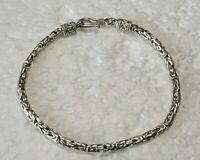 "Vtg Solid Sterling Silver Byzantine 8 in. "" Chain BRACELET 925 Hook Clasp"