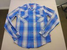058 MENS NWOT FRESHJIVE WHITE / BLUE / MAROON CHECK L/S SHIRT SZE MEDM $90 RRP.