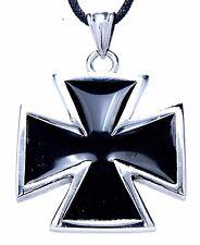 N º 100b: Acero Cruz Colgante Cinta de inoxidable/Cadena hierro negro