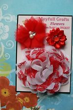 HANDMADE 3 Flower Mix RED & WHITE Organza Satin 35, 60 & 100mm NjoyfullCrafts