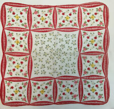 """Vintage Handkerchief Of Red Yellow Pink Flowers 13"""" X 13"""""""