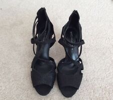M&S Collection with Insolia Black Sparkle Stiletto Open Toe Shoes - UK 7.5 - New
