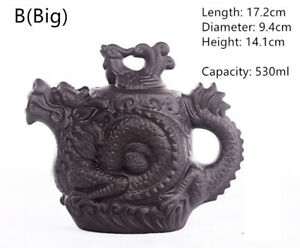 Dragon Phoenix Tea Kettle Handmake CeramicTeapot Purple Clay Tea Pot with Handle