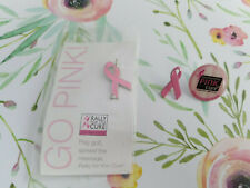 "3 Pins GO PINK ""Rally For The Cure"" Golf Club Pink Ribbon Breast Cancer Pinback"