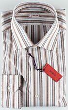 NWT ISAIA DRESS SHIRT striped white grey apricot luxury handmade Italy 44 17 1/2