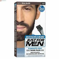 Just For Men Mustache and Beard Brush-In Color Gel, Real Black