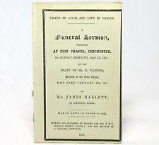 CALVANISTIC BAPTIST Funeral SERMON by James HALLETT 1851 Zion Chapel Chichester