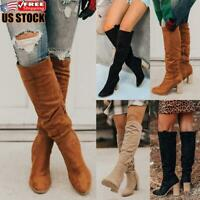 Women's Casual Mid Calf Boots Ladies Chunky Heel Zipper Faux Suede Shoes Size