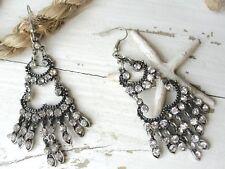 Clear Crystal Bohemian Earrings Fashion Earrings - Black Tone
